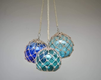 Glass Fishing Float Cluster Pendant Light, with 3 Floats and rope covered chains