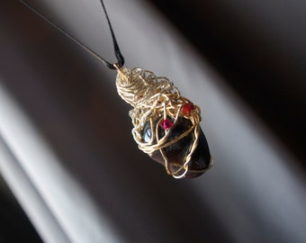 Red Garnet Wire Wrapped Pendant