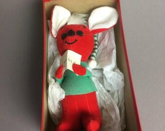 60s Christmas Mouse Dream Pet Dakin Stuffed Caroler Mouse - Japan - with Box - #118