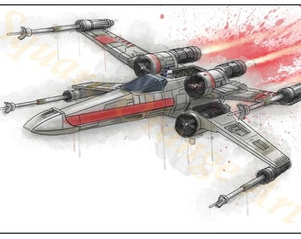 X-Wing Starfighter Star Wars Inspired Splash Art A4 Print