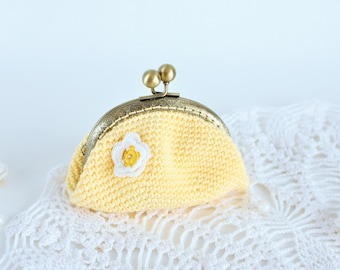 Yellow Coin purse Crochet purse Crocher purse Birthday gift for women gift Change purse Metal frame Jewelry pouch bag Gift for her gift