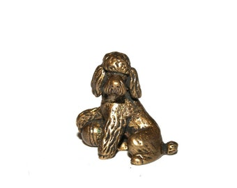 Poodle dog - a miniature statuette of bronze,  metal figurine