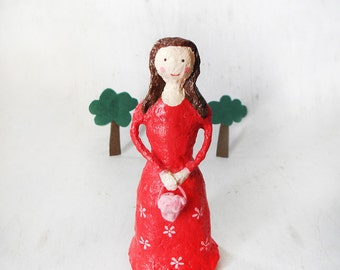 Paper Mache Doll, Paper Sculpture, Whimsical Doll, Ooak, Paper Mache Figure, Collectible Doll, Romantic Doll, Artistic Doll, Unique Doll