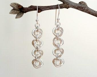 Sterling Silver Earrings, Silver Dangle Earrings, Sterling Silver Rosette Earrings, Rosette Dangle Earrings, Rose Earrings, Rose Dangle