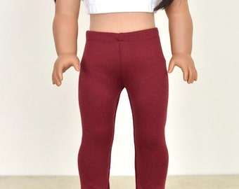 18 inch doll clothes Leggings Color Burgundy