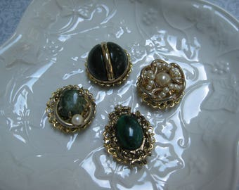 Vintage Magnet Set, Vintage Jewelry, Set of 4, Upcycled Vintage, Jewelry Magnets, Fridge Magnets, Costume Jewelry Magnets, Fridge Bling /3