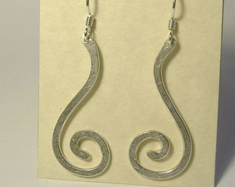 Sterling Silver Long Spiral Earrings E-29