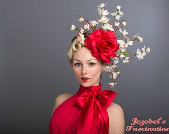 Large Rose Carnevale Cherry Blossom Fascinator Red White Flower Derby Headdress Dogwood Branches Hair Flower Race Headpiece Floral Hat