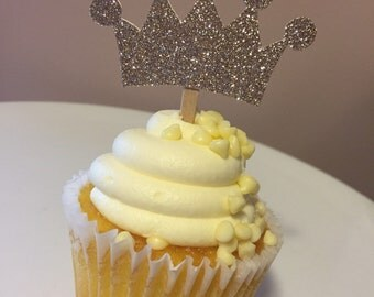 Princess Gold Glitter Crown Cupcake Picks - Gold Princess Crown Cupcake Picks