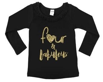 Four and Fabulous - Fourth Birthday Shirt - Girls' Birthday Shirts - Birthday Girl - FOUR - 4th Birthday - Glitter Birthday Shirt - Ruffle
