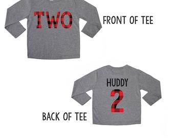 Buffalo Plaid Birthday Shirt - 2nd Birthday Shirt - Plaid TWO - Lumberjack Birthday - Buffalo Print - Red Buffalo Plaid - Birthday Boy Plaid
