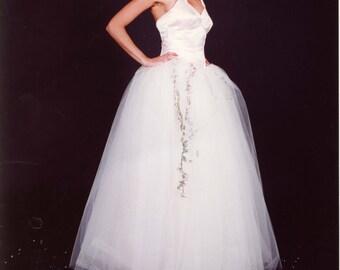 Sweetheart Peach Duchess Satin Halter Neck Fairytale Wedding Dress