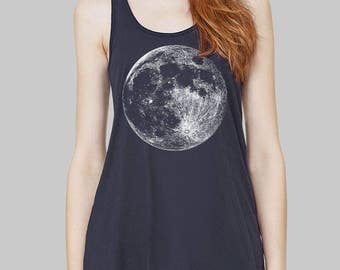 Moon - Moon Tank Top, Graphic Tank, Tank Tops, Graphic Tanks For Women, Bella Flowy Tank Top, Yoga Tank Top, Plus Size, Racerback Tank