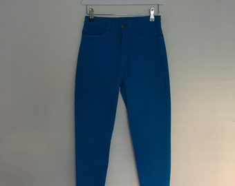 Vintage AA Deadstock high waist 80's electric blue stretch side zipper Pants Jeans XS