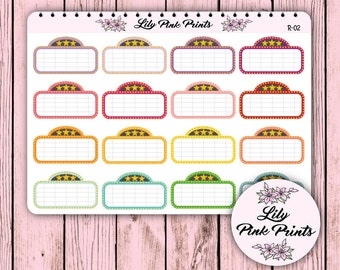 16 Rainbow Movie Marquee Stickers R-02 - Perfect for Erin Condren Life Planners / Journals / Stickers.