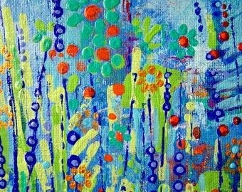Blue Meadow original abstract painting, acrylic floral art, meadow flowers picture, hand painted floral abstract art, flowers painting