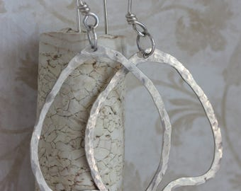 Sterling Silver Organic Modern Earrings, Handmade Sterling Silver Earrings, Hammered Silver Hoop Earrings, Organic Hoops, Birthday Gift