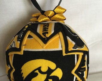 IOWA HAWKEYES Ornament Made From Iowa Fabric,Quilted Ornaments,Iowa Hawkeyes,Iowa,Hawkeyes,College Ornaments,Christms Ornaments,NCAA Decor