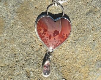 Apache Sage Rhyolite Heart with Red Fire Quartz Teardrop, Silver, Heart, Maroon, Mauve, Scenic Stone, Apache Sage Rhyolite, Red Fire Quartz
