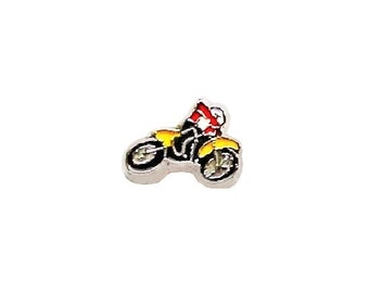 Dirt Bike Racer Floating Charm