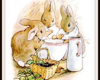 Printed Vintage Victorian Beatrix Potter Peter Rabbit Flopsy Bunnies Art Print Poster,  Nursery, Shower Gift, Baby's Room