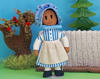 Settler rag doll - handmade cloth doll - blue and white striped dress - cotton bonnet - storytime toy - imaginative play - birthday gift