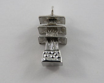 Three Story Pagoda Sterling Silver Charm of Pendant.