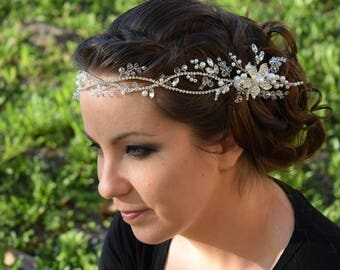 Wedding hair vine, wedding headpiece, Wedding hair piece, Bridal Hair vine, Bridal Hair Comb, Bridal Hair Piece, Crystal and Pearl Headpiece