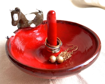 Spotted Puppy Ring Tree, ceramic ring dish red ring dish brown & white dog ring storage bracelet storage pottery ring bowl jewelry storage