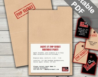 Secret Agent Party Invitations. Spy Party Printable. Editable PDF. Instant Download.