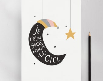 Love You to The Moon and Back, Modern Nursery Kids Wall Art Print