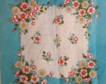Kreier 100% Cotton Handkerchief - Geometric Floral Design in Blue and White with Daisies  - New and Unused From Vintage 1970 Stock
