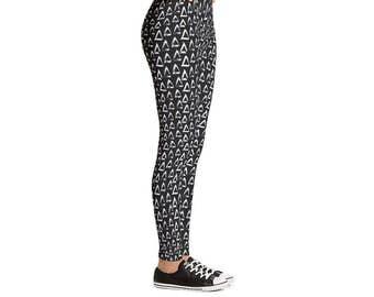 Brush Triangles Leggings - Women's Active Wear Full Length or Capri Pants - Black & White Zen Yoga - Sizes XS to XL - Polyester/Spandex
