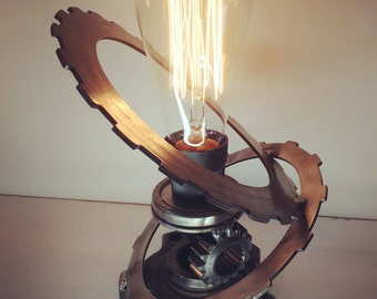 Recycled upcycled metal art edison lamp