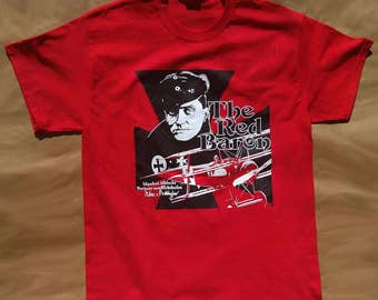 Red Baron tshirt Manfred Freiherr von Richthofen red 100% cotton Gildan short sleeve graphic tee