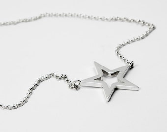 Empty Star Necklace - Silver 925 - Chain Necklace with Star