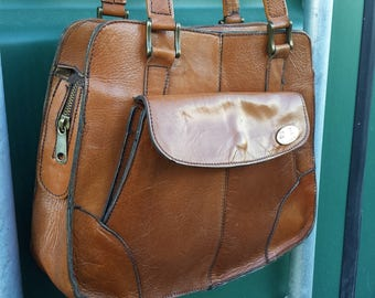 Vintage Leather Tote Shoulder Bag,  A. Z. Borse Caramel Brown leather Satchel Purse,  Hobo Purse, Satchel Bag, Tote Purse