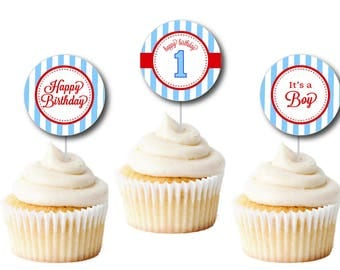 Seersucker Cupcake Toppers, Custom Seersucker Thank You Gift Tags (Seersucker 2' Favor Tags, Thank You Tags, Seersucker Party, Shower)