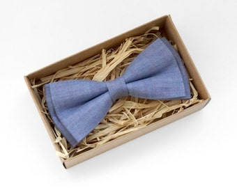 Chambray blue bow tie, blue linen bow tie, blue wedding tie, mens necktie, bowtie for weddings, groomsmen bow tie, boys bow ties, blue tie