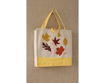 Canvas Tote Bag, Autumn Leaves, Fall Colors, Reusable Tote Bag, Eco Friendly Bag, Shopping Bag, Book Bag, Holiday Bag
