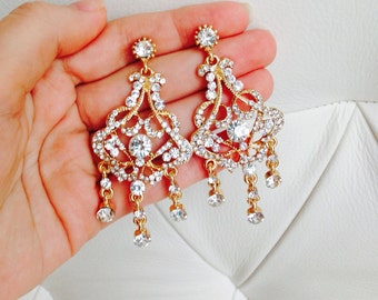 Wedding earrings Long Bridal earrings  Crystal earrings Gold chandelier earrings Gold bridal earrings Rhinestone earring Gold Bridal Jewelry