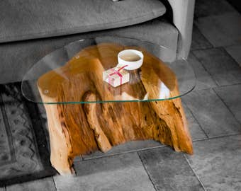 Wooden coffee table with glass top contoured, natural trunk, recovery log, stump table, coffee table