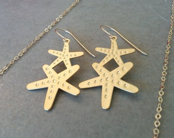Gold Star Earrings, Star Earrings, Gold Earrings, Gold Star, Gift For Her, Star Jewelry, Earrings, Geometric Earrings, Dangle Earrings