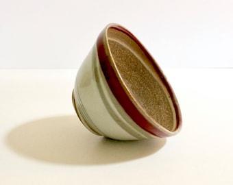 Handmade marbled ceramic bowl, stoneware, swirled effect, red, stripes