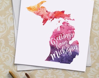 Michigan Watercolor Map Greeting Card, Greetings from Michigan Hand Lettered Text, Gift or Postcard, Giclée Print, Choose from 5 Colors