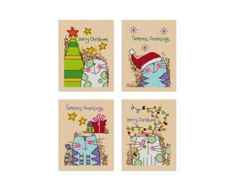 Cat's Christmas - Set of 4 - Durene J Cross Stitch Patterns