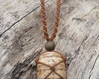 Aragonite Macrame Necklace