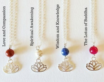 Spiritual Lotus Necklace Four different meanings - crystal necklace, lotus pendant, buddhist necklace, healing jewelry, gemstone necklace