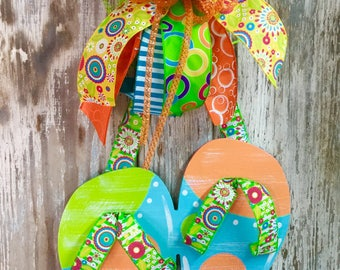 Door hanger, flip flops, front door wreath, summer wreath, summer decor, nautical, beach decor