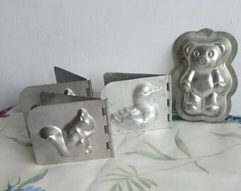 Vintage Chocolate Animal Moulds, French Tin Rustic Animal Shapes, Chocoholic Gift, Christmas Chocolate Shapes